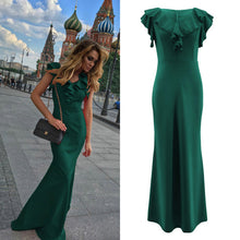 Load image into Gallery viewer, Women Long Maxi Dress Mermaid Ruffles Evening Party Dress Elegant Yellow Green Women Autumn Dress Vestido de Fiesta Robe MC-2870 - DivaJean