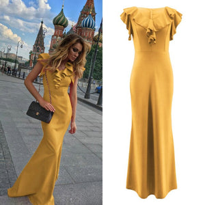 Women Long Maxi Dress Mermaid Ruffles Evening Party Dress Elegant Yellow Green Women Autumn Dress Vestido de Fiesta Robe MC-2870 - DivaJean