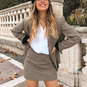 Women plaid Suit Casual Blazer High Waist Skirt Office Lady Notched Jacket Skirt Suits Europe Femme 2 pieces set - DivaJean