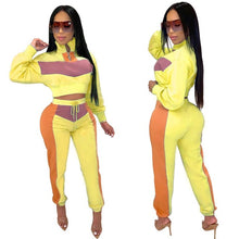 Load image into Gallery viewer, New Female Turtleneck Long Sleeve Crop Top Sweatshirt Long Skinny Pants Sporting 2 Two Pieces Sets Solid Color Casual Tracksuits - DivaJean
