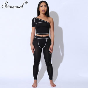 Simenual Sporty Fashion Active Wear Black Fitness Tracksuits One Shoulder 2 Piece Set Women Workout Crop Top And Leggings Sets - DivaJean