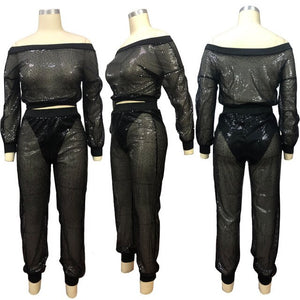 2020 Sexy Women 2 Pieces Set Sequined Striped Lantern Sleeve See Throgh Off Shouder Neck Crop Top + Long Pants Tracksuit Women - DivaJean