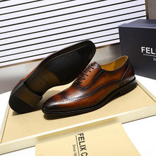 Load image into Gallery viewer, FELIX CHU Classic Wingtip Medallion Brogue Oxfords Men's Dress Shoes Genuine Leather Black Brown Mens Leather Shoes Size 39-46 - DivaJean