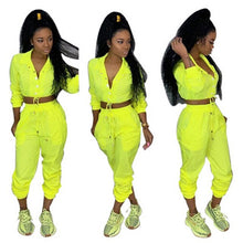 Load image into Gallery viewer, Sexy Summer Two Piece Set Top and Pants Casual Button Long Sleeve Tracksuit Women Neon Green Solid Sportswear Women Sweat Suits - DivaJean