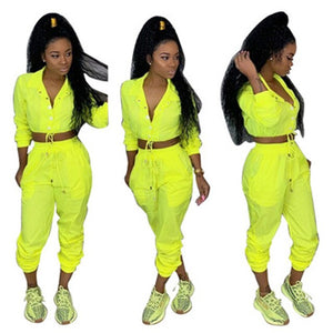 Sexy Summer Two Piece Set Top and Pants Casual Button Long Sleeve Tracksuit Women Neon Green Solid Sportswear Women Sweat Suits - DivaJean