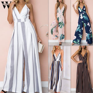 Womail bodysuit Women Summer Sleeveless Strip Jumpsuit Print Strappy Holiday Long Playsuits Trouser Fashion 2019 dropship f28 - DivaJean