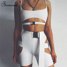 Cargar imagen en el visor de la galería, Simenual Streetwear Buckle Sexy Hot Two Piece Sets Women Cut Out Neon Color Outfits Casual Summer Biker Shorts And Top Sets 2019 - DivaJean