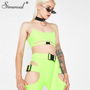 Simenual Streetwear Buckle Sexy Hot Two Piece Sets Women Cut Out Neon Color Outfits Casual Summer Biker Shorts And Top Sets 2019 - DivaJean