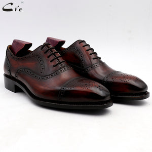 cie wedding shoes mens dress shoe patina wine dress shoe genuine calf leather outsole men suits formal leather handmade No.4 - DivaJean