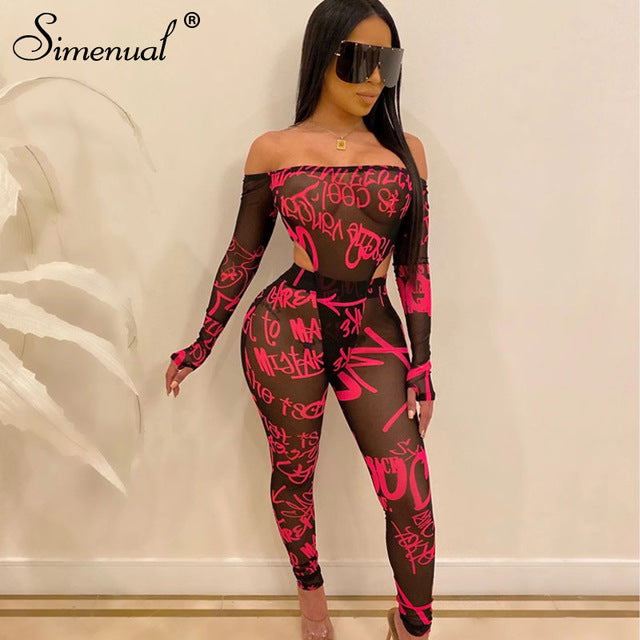 Simenual Mesh Sexy Hot Transparent Women Co-ord Set Letter Print Off Shoulder 2 Piece Outfit Long Sleeve Bodysuit And Pants Sets - DivaJean