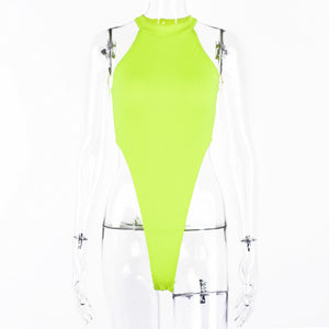 Hugcitar ribbed knit sleeveless neon green solid sexy bodysuit 2019 summer women fashion streetwear party female body - DivaJean