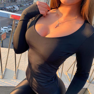 Shestyle Bodycon Sexy Neon Orange Bodysuits Women Autumn 2019 Long Sleeve Solid Winter Basic Body Suit Female O Neck Black Pink - DivaJean