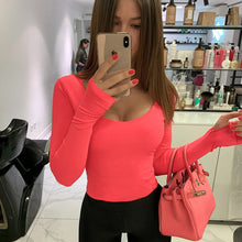 Load image into Gallery viewer, Shestyle Bodycon Sexy Neon Orange Bodysuits Women Autumn 2019 Long Sleeve Solid Winter Basic Body Suit Female O Neck Black Pink - DivaJean