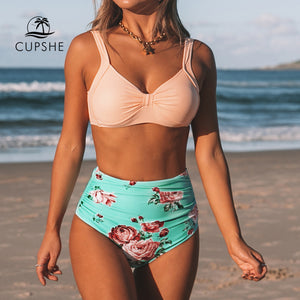 CUPSHE Pink And Green Floral High-waisted Bikini Sets Women Heart Neck Cute Two Pieces Swimsuits Women Sexy Beach Bathing Suits - DivaJean