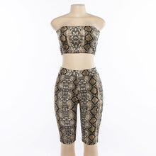 Cargar imagen en el visor de la galería, Simenual Sexy snake print two piece set strapless crop top and biker shorts high waist push up tracksuit women sets streetwear - DivaJean