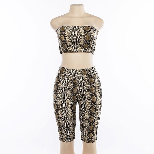 Simenual Sexy snake print two piece set strapless crop top and biker shorts high waist push up tracksuit women sets streetwear - DivaJean