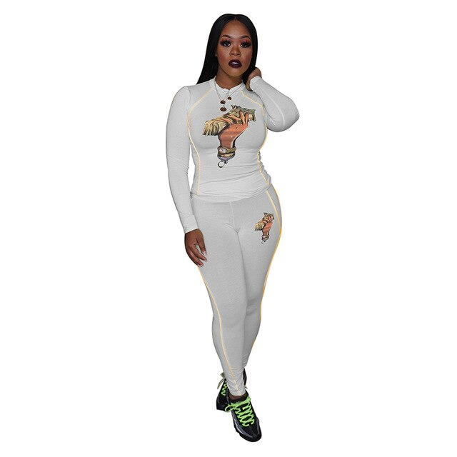Printed Plus Size 2 Piece Set Sweat Suits Women Round Neck Full Sleeve Cropped Tshirt + Skinny Long Pants Festival Matching Sets - DivaJean