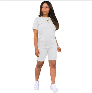 2019 new women solid sporting casual two piece set short sleeve tee top above knee pants suit tracksuit outfit 4 color - DivaJean