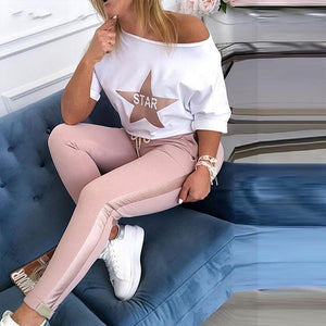 Women Spring sexy off shoulder Tracksuit sets Lady Boat Anchor Print tops Two Piece Set Female Elastic Waist Long Pants Sets - DivaJean