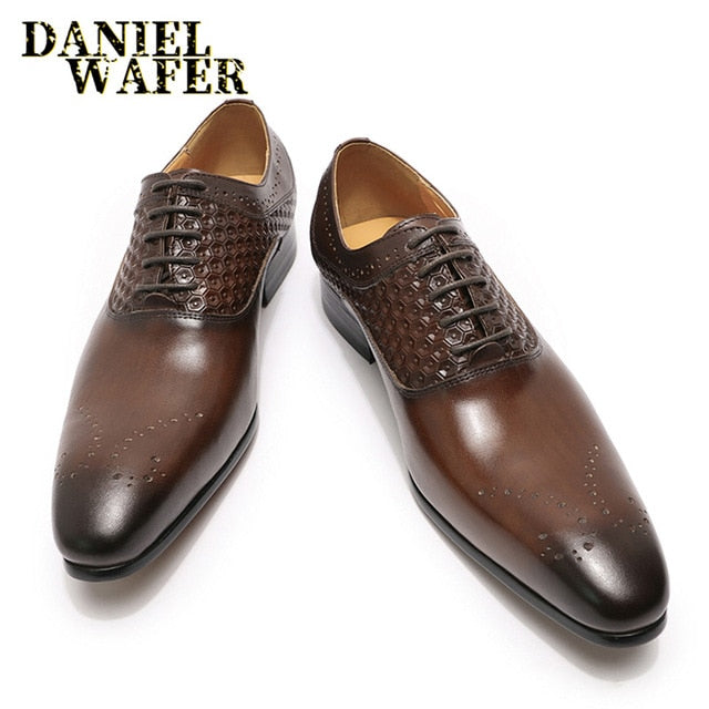 LUXURY BRAND FORMAL MEN OXFORDS BROGUES SHOE BLACK COFFEE PRINTED SHOES POINTED TOE LACE UP OFFICE WEDDING SHOES MEN LEATHER - DivaJean