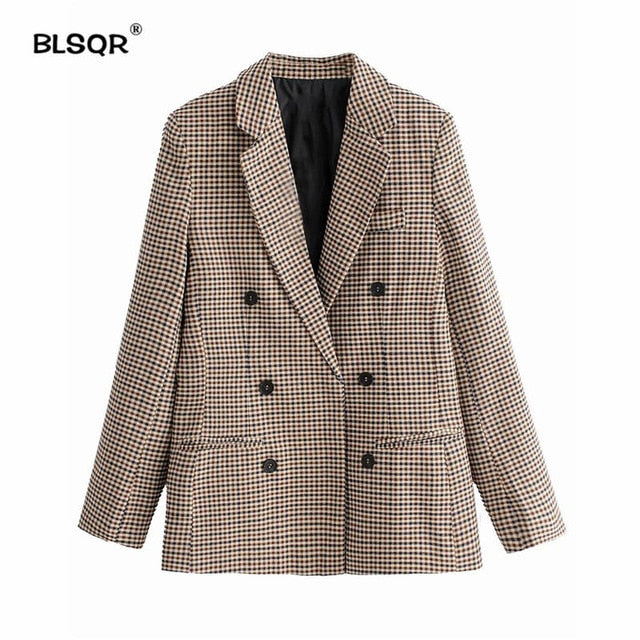 Fashion Autumn Women Plaid Blazers and Jackets Work Office Lady Suit Slim Double Breasted Business Female Blazer Coat Talever - DivaJean