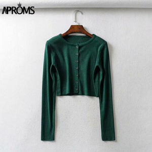 Aproms Candy Color Ribbed Knitted Cardigan Women Autumn Winter Long Sleeve Basic Cropped Sweaters Female Casual Short Jumper Top - DivaJean