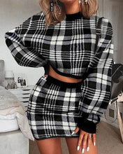 Load image into Gallery viewer, Women's Elegant Office Two Pieces Set Plaid Sweater Outfit Long Sleeve Crop Top And Skirt Set Sexy Fashion Dress Set - DivaJean