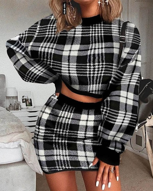 Women's Elegant Office Two Pieces Set Plaid Sweater Outfit Long Sleeve Crop Top And Skirt Set Sexy Fashion Dress Set - DivaJean