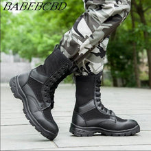 Load image into Gallery viewer, Summer men ventilated mesh ultra light military boots special soldiers leather combat training tactical boots security shoes on - DivaJean