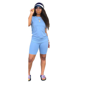 Two-piece Solid Color Women's Clothing. Short-sleeved Crew Neck T-shirt and Tight-fitting Shorts. Simple Style Tracksuit Outfit - DivaJean