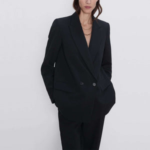 Autumn and winter women's suit casual solid color double-breasted pocket decorative suit - DivaJean