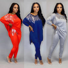 Load image into Gallery viewer, Sequined Two Piece Set Women Rave Festival Clothing Sexy Club Party Night Outfit Long Top And Pant Sweat Suit Matching Sets - DivaJean