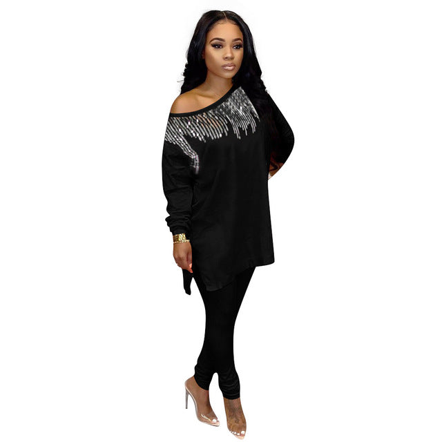 Sequined Two Piece Set Women Rave Festival Clothing Sexy Club Party Night Outfit Long Top And Pant Sweat Suit Matching Sets - DivaJean