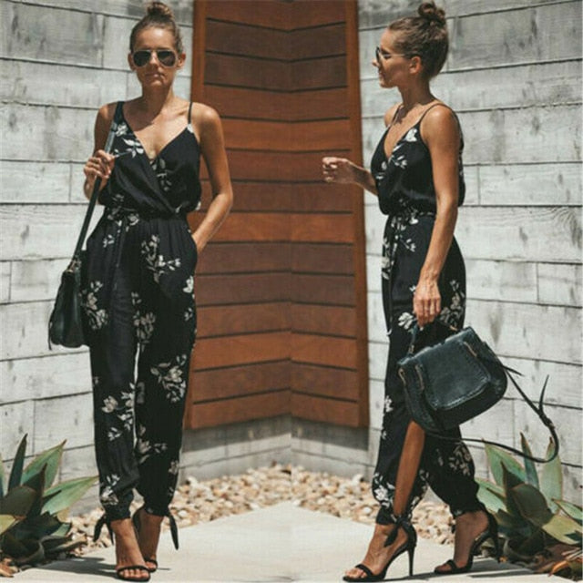 Hot Casual Women Sleeveless Loose Baggy Trousers Overalls Pants Solid Romper Jumpsuit - DivaJean