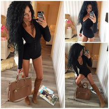 Load image into Gallery viewer, Sexy Women Bodysuit Long Sleeve Deep V Neck Bodycon Stretch Leotard Crop Tops Button Short Romper Pajamas Overalls for women - DivaJean