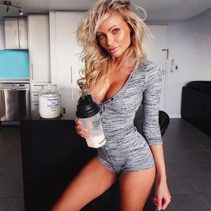 Sexy Women Bodysuit Long Sleeve Deep V Neck Bodycon Stretch Leotard Crop Tops Button Short Romper Pajamas Overalls for women - DivaJean