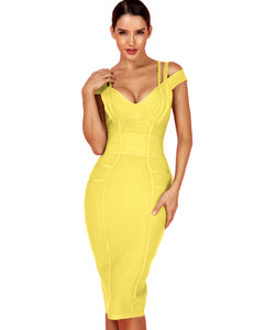 Deer Lady $21.99 ONLY!! Clearance Sale! Yellow Bandage Dress Bodycon Celebrity Club Evening Party Dress - DivaJean