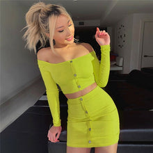 Load image into Gallery viewer, 2019 Sexy Off Shoulder Two Piece Set Solid Button Bodycon 2 Piece Set Women Long Sleeve Top And Skirt Summer Autumn Sets - DivaJean
