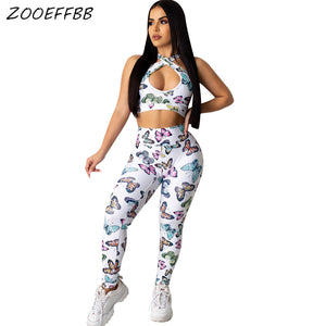 ZOOEFFBB Sexy Butterfly Two Piece Set Summer Clothes for Women Tracksuit Crop Top and Pant Sweat Suit Club Outfits Matching Sets - DivaJean