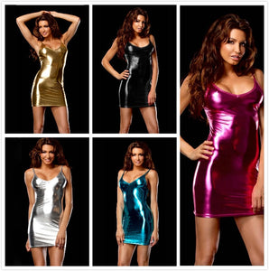 PU Leather Sexy Bodycon Dresses Woman Party Night Club Wear 2019 Summer Dress 9 color Mini Bandage Dress Shiny Sexy - DivaJean