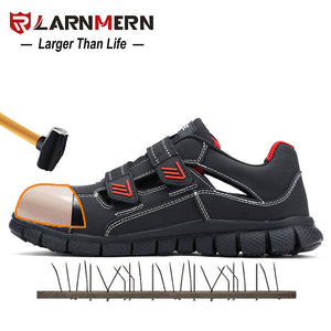 LARNMERN Men's Work Safety Shoes Steel Toe Breathable Lightweight Anti-smashing Anti-puncture Construction Protective Footwear - DivaJean
