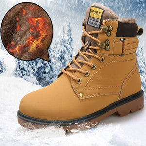 Men boots  new fashion pu leather wear resisting snow boots men working fashion casual men shoes keep warm winter boots men 2020 - DivaJean
