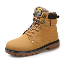 Load image into Gallery viewer, Men boots  new fashion pu leather wear resisting snow boots men working fashion casual men shoes keep warm winter boots men 2020 - DivaJean