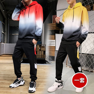 Men's hoodie sport 2 piece suit fall/winter thick Korean harajuku black hoodie blazer Street sportswear Plus size Tennis clothes - DivaJean