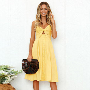 Sexy Backless Maxi Vestido Women Bow Summer Dress 2020 Sundress Lady Vintage Dresses yellow Spaghetti Strap Buttons Casual Dress - DivaJean