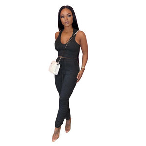 Casual Hooded Two Piece Set Trousers Pants Set Crop Top + Long Pants Has Stretch Sportwear Tracksuit Summer Clothes For Women - DivaJean