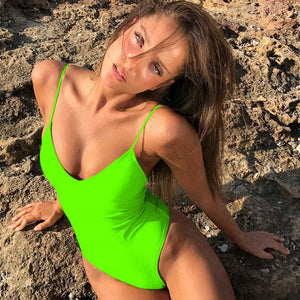 2020 Summer Women Solid Bikinis Sexy Bandage One Piece Backless Swimsuit Female Bathing Suits Bodysuit Beach Wear Swim Suit - DivaJean