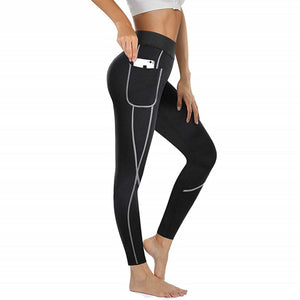 Women Fitness Tights Neoprene Heat Pants Sweat Sauna Waist Trainer Control Panties Sexy Butt Lifter Slimming Legging with Pocket - DivaJean