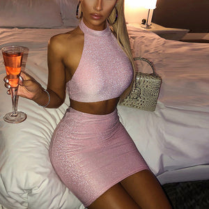NewAsia Garden 2 Layers Black Party Dress Women Sexy Backless Glitter Dress Pink Club Wear High Waist Bodycon Dress Two Piece - DivaJean