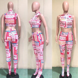 Newspaper Print Tracksuit Women 2 Piece Set 2020 Sleeveless Zipper Crop Top and Skinny Long Pants Club Outfit Casual Streetwear - DivaJean